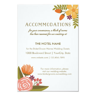 Bold Bright Colorful Floral Wedding Accommodations Card