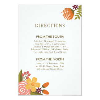 Bold Bright Colorful Floral Wedding Direction Card