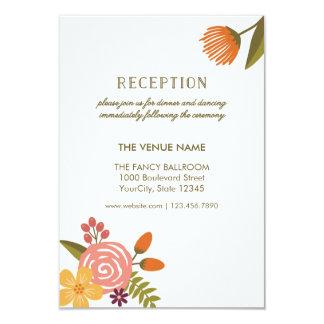 Bold Bright Colorful Floral Wedding Reception Card