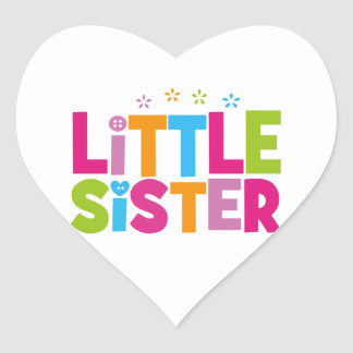 Bold, Bright &Colorful Little Sister Heart Sticker