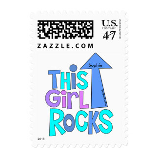 Bold Bright Colorful Text | THIS GIRL ROCKS Design Postage