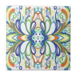 """Bold, Bright Graffiti Doodle Tile<br><div class=""""desc"""">This image is a bold and bright doodle which has a graffiti-like,  tribal feel.  The colors are shades of citrus from yellow to orange and shades of blue. The original Sharpie sketch has been digitized and adapted by the artist.</div>"""