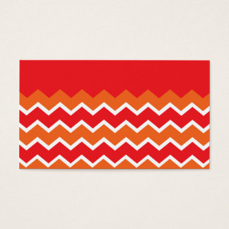 Bold Bright Orange Red Chevron Zigzag Pattern Business Card