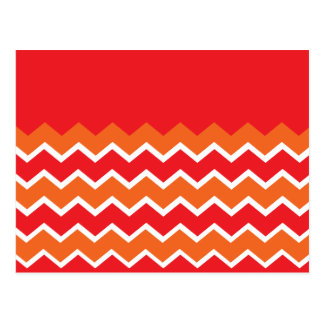 Bold Bright Orange Red Chevron Zigzag Pattern Postcard
