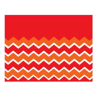 Bold Bright Orange Red Chevron Zigzag Pattern Postcard