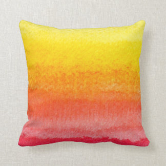 Bold Bright Orange Yellow Ombre Watercolor Throw Pillow