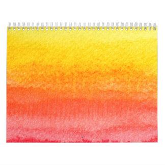 Bold Bright Orange Yellow Ombre Watercolor Calendar