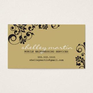 BOLD bright organic swirl pattern tan gold black Business Card