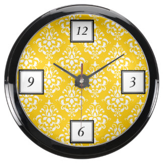 BOLD BRIGHT YELLOW VINTAGE DAMASK PATTERN 1 AQUARIUM CLOCK
