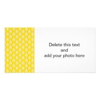 BOLD BRIGHT YELLOW VINTAGE DAMASK PATTERN 1 CARD