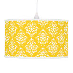 BOLD BRIGHT YELLOW VINTAGE DAMASK PATTERN 1 PENDANT LAMP