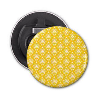 BOLD BRIGHT YELLOW VINTAGE DAMASK PATTERN 1 BUTTON BOTTLE OPENER