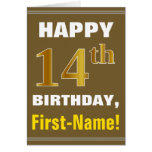 [ Thumbnail: Bold, Brown, Faux Gold 14th Birthday W/ Name Card ]