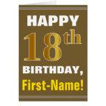 [ Thumbnail: Bold, Brown, Faux Gold 18th Birthday W/ Name Card ]