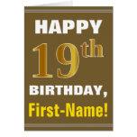 [ Thumbnail: Bold, Brown, Faux Gold 19th Birthday W/ Name Card ]
