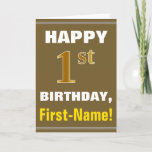 [ Thumbnail: Bold, Brown, Faux Gold 1st Birthday W/ Name Card ]