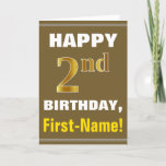 [ Thumbnail: Bold, Brown, Faux Gold 2nd Birthday W/ Name Card ]