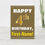 [ Thumbnail: Bold, Brown, Faux Gold 4th Birthday W/ Name Card ]