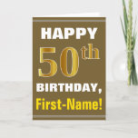 [ Thumbnail: Bold, Brown, Faux Gold 50th Birthday W/ Name Card ]