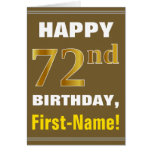 [ Thumbnail: Bold, Brown, Faux Gold 72nd Birthday W/ Name Card ]