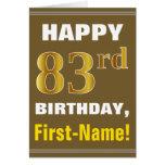 [ Thumbnail: Bold, Brown, Faux Gold 83rd Birthday W/ Name Card ]