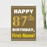 [ Thumbnail: Bold, Brown, Faux Gold 87th Birthday W/ Name Card ]