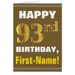 [ Thumbnail: Bold, Brown, Faux Gold 93rd Birthday W/ Name Card ]