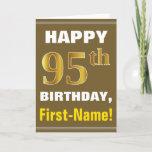 [ Thumbnail: Bold, Brown, Faux Gold 95th Birthday W/ Name Card ]