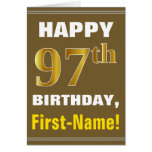 [ Thumbnail: Bold, Brown, Faux Gold 97th Birthday W/ Name Card ]