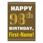 [ Thumbnail: Bold, Brown, Faux Gold 98th Birthday W/ Name Card ]