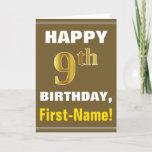 [ Thumbnail: Bold, Brown, Faux Gold 9th Birthday W/ Name Card ]