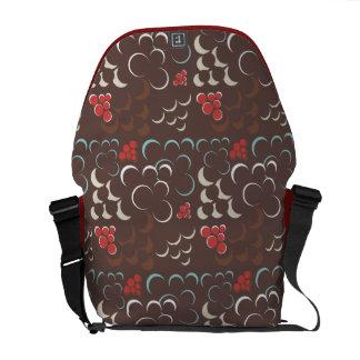 Bold brown red aqua circles Rickshaw messenger bag