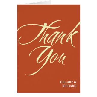 Bold brush stroke brick red thank you cards