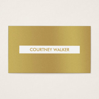 Bold brushed gold & white nameplate business cards