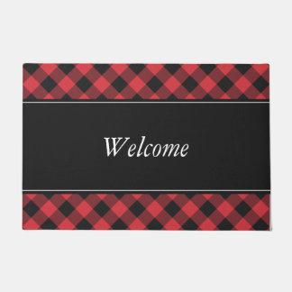 Bold Buffalo Check Plaid Red & Black Doormat