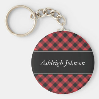 Bold Buffalo Check Plaid Red & Black Keychain