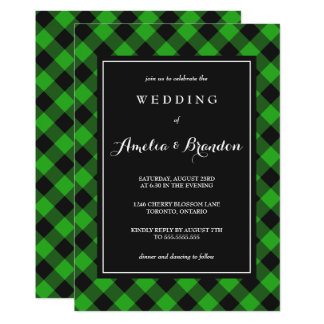 Bold Buffalo Plaid Green & Black Wedding Card