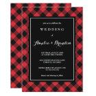 Bold Buffalo Plaid Red & Black Wedding Card