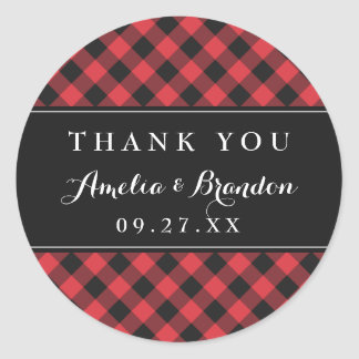 Bold Buffalo Plaid Red & Black Wedding Classic Round Sticker