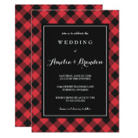 Bold Buffalo Plaid Red & Black Wedding Invitation