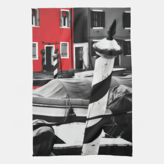 BOLD BURANO Red Color Pop Iconic Venice Poles Kitchen Towel