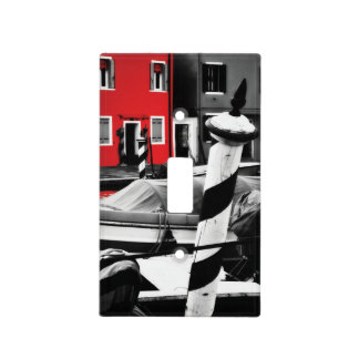 BOLD BURANO Red Color Pop Iconic Venice Poles Light Switch Cover
