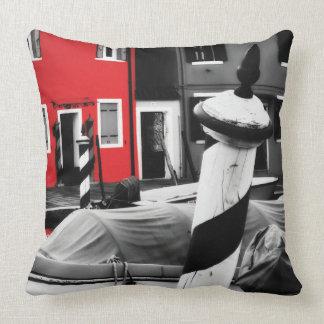BOLD BURANO Red Color Pop Venice Poles Custom Throw Pillow