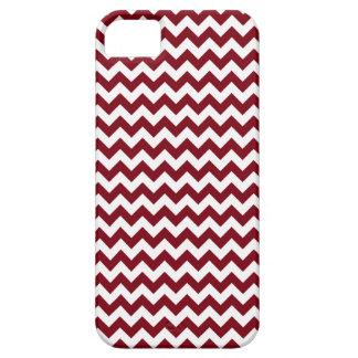 Bold Burgundy Wine & White Chevron Zig-Zag Pattern iPhone SE/5/5s Case