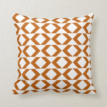 Aztec Themed Bold burnt orange and white modern chevron throw pillow