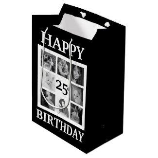 Bold BW Happy Birthday with 8 Instagram Photos Medium Gift Bag
