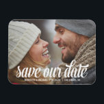 "Bold Calligraphy | Photo Save the Date Magnet<br><div class=""desc"">This gorgeous,  full-bleed photo save the date features a bold retro-style calligraphy and the text &quot;Save our date&quot; - customize with your wedding details and favorite photo.</div>"