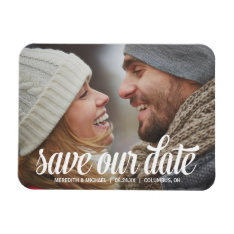 Bold Calligraphy | Photo Save The Date Magnet at Zazzle