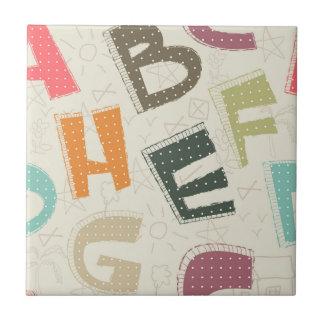 Bold Cartoon Style Letters Ceramic Tiles