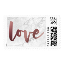 Bold, Casual Faux Gold Foil Script Love & Marble Postage